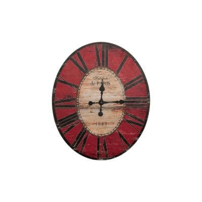 Distressed Red Oval Wood Wall Clock