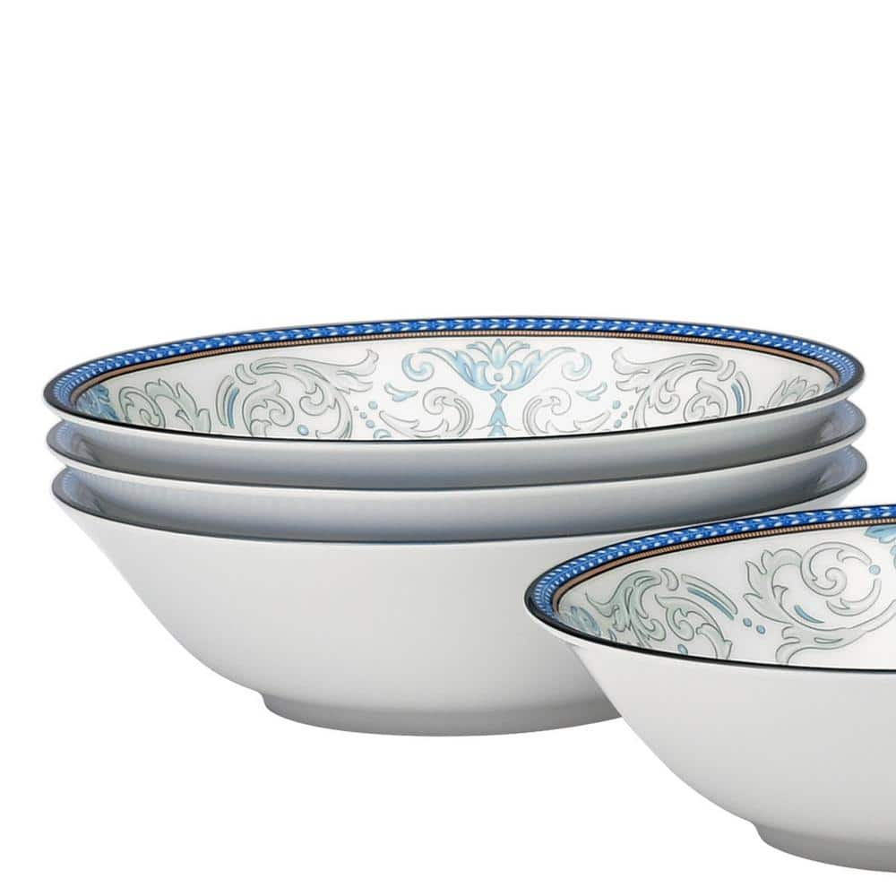 Noritake Menorca Palace Blue Yellow White Bone China Cereal Bowls Set Of 4 6 1 2 In 15 1 2 Oz 4964 500d The Home Depot