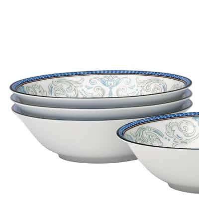 Menorca Palace Blue/Yellow White Bone China Cereal Bowls (Set of 4) 6-1/2 in., 15-1/2 oz.