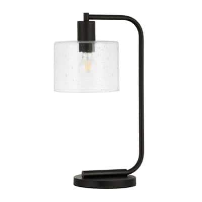 Cadmus 20-1/2 in. Blackened Bronze Table Lamp with Seeded Glass Shade