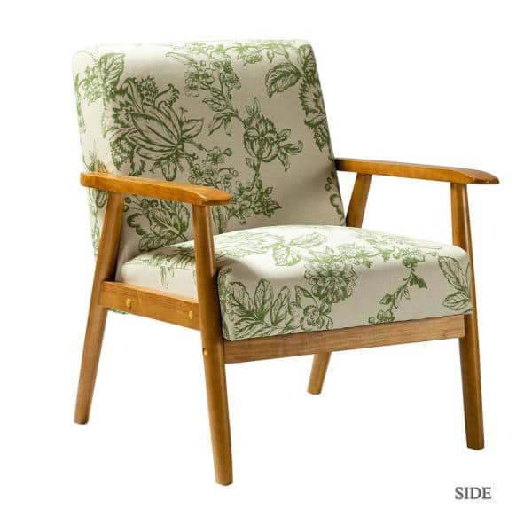 Jayden Creation Davina Brown Legs Green, Occasional Chairs With Wooden Arms