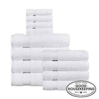 Egyptian Cotton 12-Piece Towel Set in White