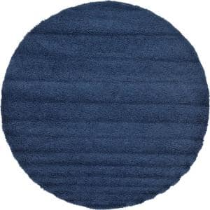 Solid Shag Navy Blue 8 ft. Round Area Rug