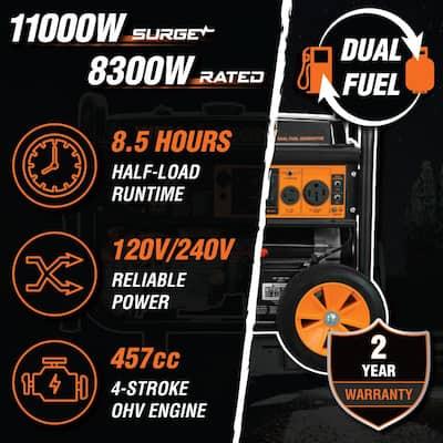 11,000/8,300-Watt 120V/240V Dual Fuel Gasoline and Propane Powered Electric Start Portable Generator with Wheel Kit