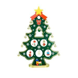 11.25 in. Wooden Christmas Tree Cut-Out with Miniature Ornaments Table Top Decoration
