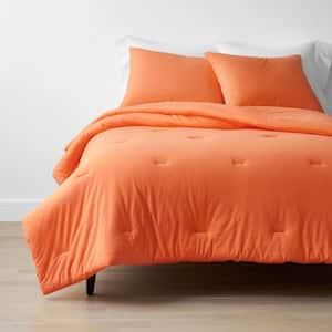Company Cotton 3-Piece Orange Cotton Jersey Knit Queen Comforter Set