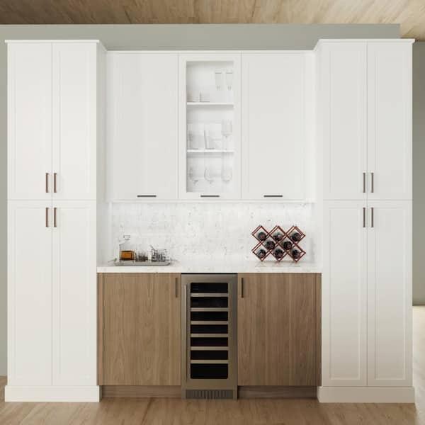 Hampton Bay Designer Series Edgeley Assembled 18x30x12 In Wall Open Shelf Kitchen Cabinet Driftwood Wos1830 Eddw The Home Depot