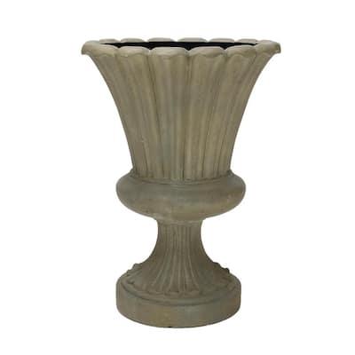 29 in. H Cast Stone Long Leaf Urn in Aged Granite