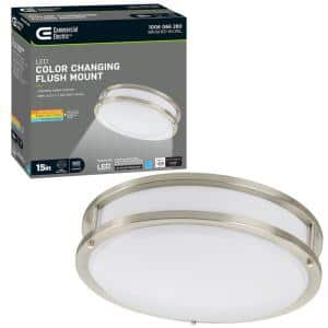 15 in. Orbit LED Brushed Nickel Flush Mount Ceiling Light 1600 Lumens Adjustable Color Temperatures Dimmable
