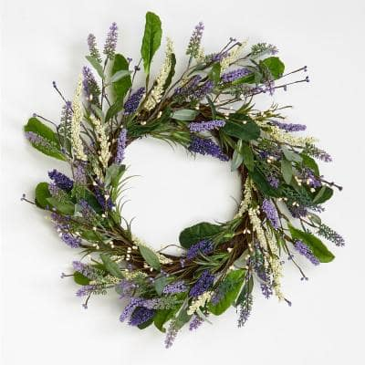 20 in. Lavender Wreath with Leaves On Twig Base