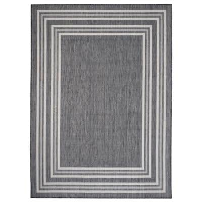 Kilimanjaro Gray/White 7 ft. 6 in. x 9 ft. 5 in. Balancing Striped Bordered Polypropylene Indoor/Outdoor Area Rug