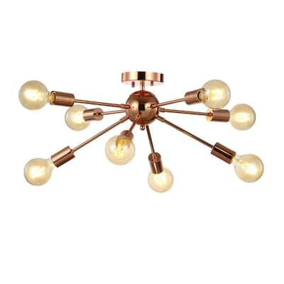 Copper 30.5 in. 8-Light Sputnik Metal LED Flush-Mount, Copper