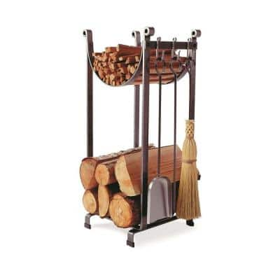 Handcrafted Sling Firewood Rack with Bar and Tools Hammered Steel
