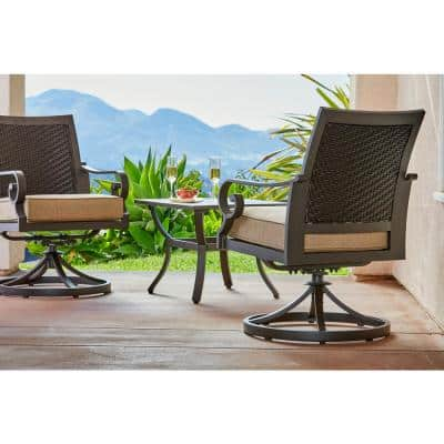 Milano 3-Piece Aluminum Patio Bistro Set with Tan Cushions