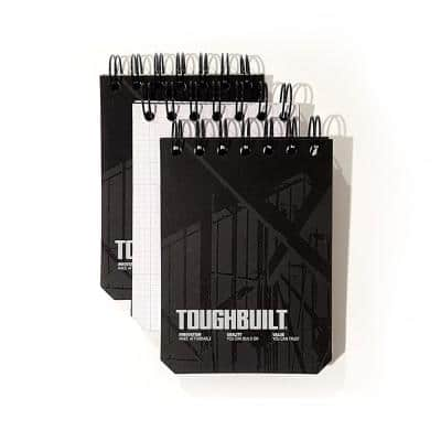 Small Grid Notebooks with Plastic Cover, Black (3-Pack)