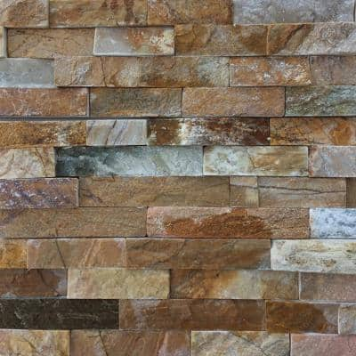 Golden White 6 x 24 in. Natural Stacked Stone Veneer Panel Siding Exterior/Interior Wall Tile (10-Boxes/45.8 sq. ft.)