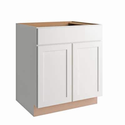 Courtland Shaker Assembled 30 in. x 34.5 in. x 24 in. Stock Base Kitchen Cabinet in Polar White Finish