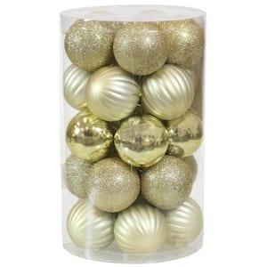 Gold Beautiful Baubles Plastic Ornament Set (25-Piece)