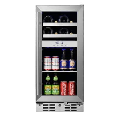 Signature 15 in. 8-Bottle and 40-Can Stainless Steel Single Door Dual Zone Built-In Wine and Beverage Cooler