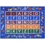 Jenny Collection Light Blue Alphabet Design 5 ft. x 7 ft. Non-Slip Kids Area Rug