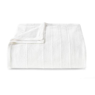 Open Stripe Cotton White 1-Piece King Blanket
