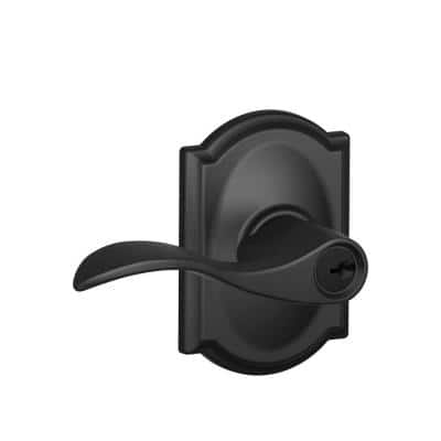 Accent Matte Black Entry Keyed Door Lever with Camelot Trim