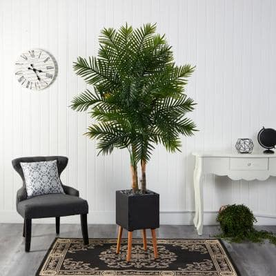 70 in. Artificial Areca Palm Tree in Black Planter with Stand
