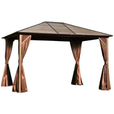 12 ft. x 10 ft. Steel Hardtop Canopy Gazebo with Fully Enclosed Zippered Curtains and Roomy Comfortable Interior, Brown