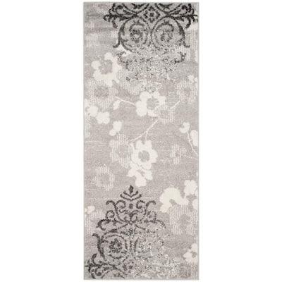 Adirondack Silver/Ivory 3 ft. x 6 ft. Floral Runner Rug