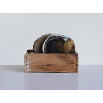 4-Piece Brown Agate Coaster Set