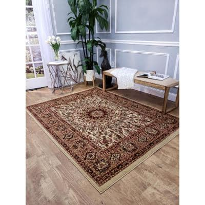 Pasha Collection Ivory 3 ft. x 5 ft. Area Rug