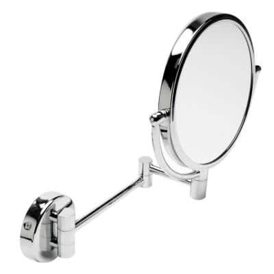 8 in. x 8 in. Round Framed Wall Mounted 5X and 0X Mirror in Polished Chrome