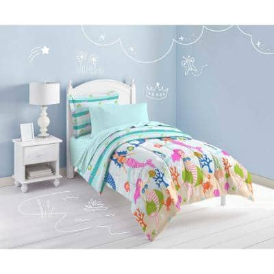 Mermaid Dreams 5-Piece Light Blue Twin Comforter Set