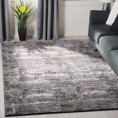Lurex Black/Gray 7 ft. x 7 ft. Square Striped Area Rug