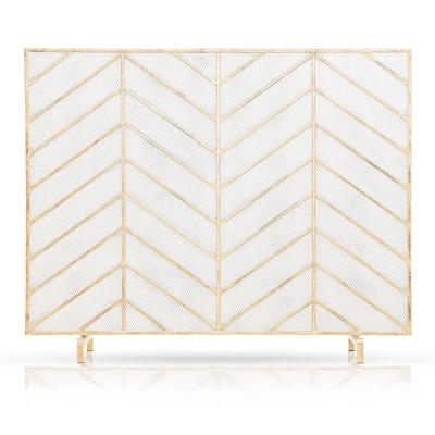 Single Panel Gold Tone Metal Freestanding Fireplace Screen