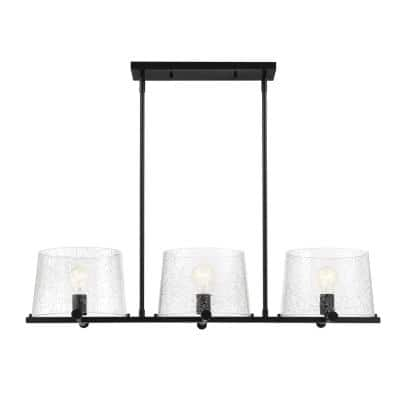 Matteson 3-Light Matte Black Island Pendant