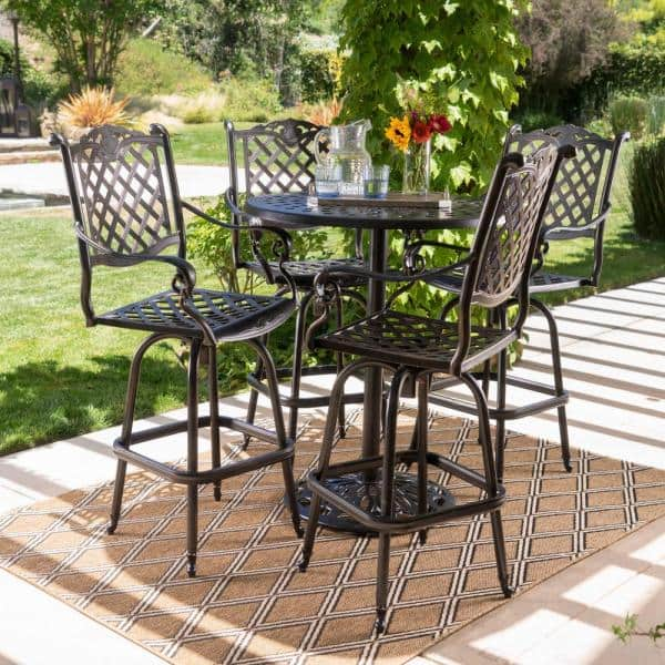 Noble House Willow 5 Piece Aluminum Circular Outdoor Bar Height Bistro Set 15146 The Home Depot