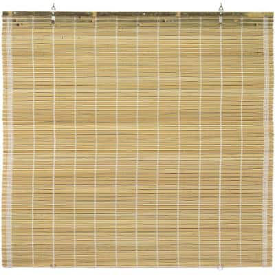 Oriental Furniture Burnt Bamboo Cordless Window Shade Natural 60 in. W x 72 in. L