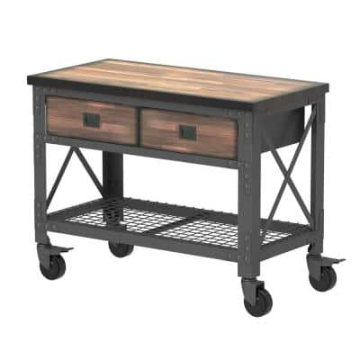 48 in. x 24 in. 2-Drawers Rolling Industrial Workbench and Wood Top