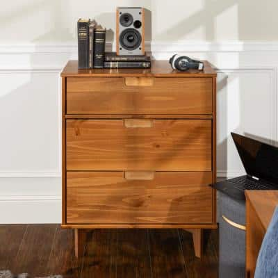 3-Drawer Caramel Mid Century Modern Wood Dresser