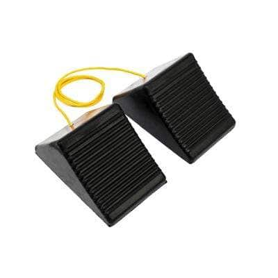 8 in. x 5 in. x 4 in. Rubber Wheel Chock with Rope (2-Pack)