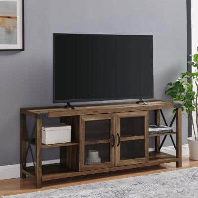 60 in. Reclaimed Barnwood Composite TV Stand Fits TVs Up to 68 in. with Storage Doors