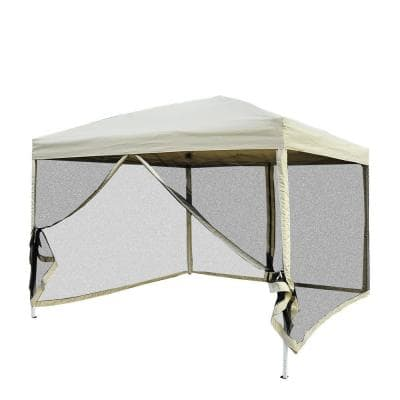 10 ft. x 10 ft. Easy Pop Up Canopy Shade Tent with Breathable Mesh Sidewalls and Included Transport Carrying Bag, Beige