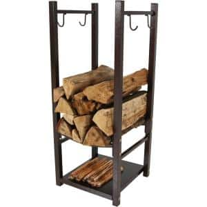Firewood Log Rack with Tool Holders in Bronze