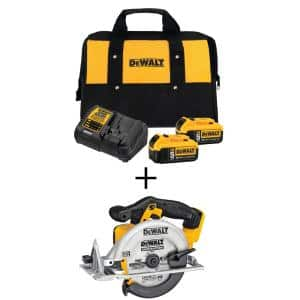 20-Volt MAX Cordless 6-1/2 in. Circular Saw with (2) 20-Volt Batteries 5.0Ah & Charger