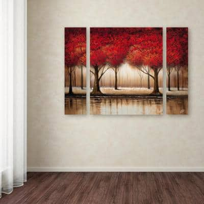 """24 in. x 32 in. """"Parade of Red Trees"""" by Rio Printed Canvas Wall Art"""