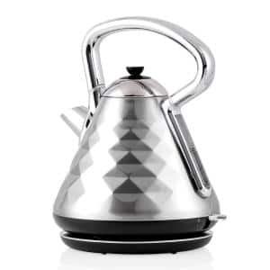 Cleo Collection 7.1-Cup Silver Electric Kettle with Boil-Dry Protection and Auto Shut-Off