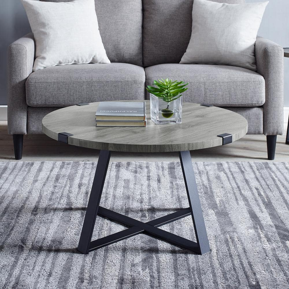 Walker Edison Furniture Company Urban Industrial 31 In Slate Gray Medium Round Wood Coffee Table Hdf30mwctsg The Home Depot [ 1000 x 1000 Pixel ]
