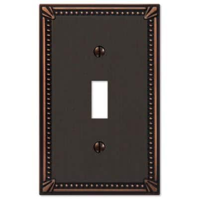 Imperial Bead 1 Gang Toggle Metal Wall Plate - Aged Bronze
