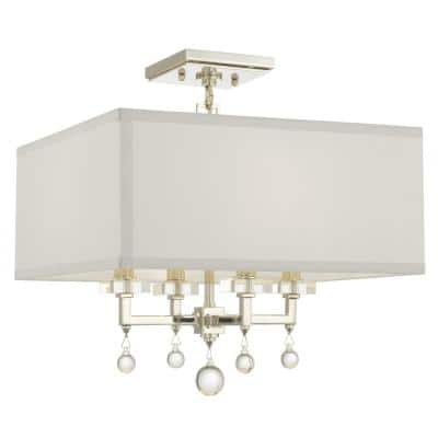 Paxton 16 in. 4-Light Polished Nickel Flush Mount